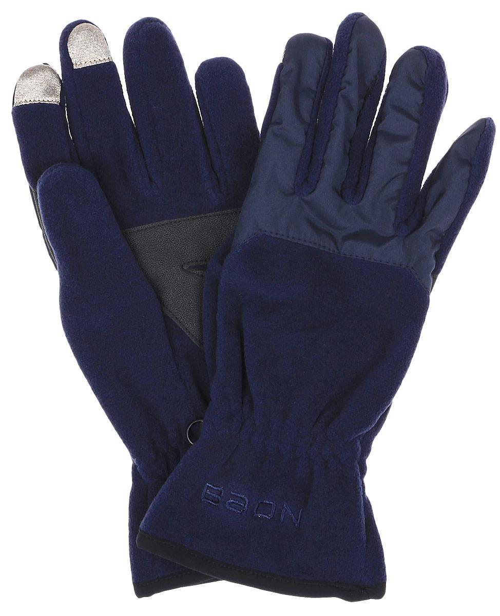 Перчатки женские Baon, цвет: синий. B366517. Размер L (50)B366517_DARK NAVYПерчатки Baon выполнены из полиэстера и специально предназначены для работы со смартфонами и планшетами в холодное время года. Кончики указательного и среднего пальцев прошиты по специальной технологии, что позволяет работать с сенсорными экранами, не снимая перчаток. Ладонная часть выполнена из прочного материала, препятствующего скольжению. Модель легко снимается и надевается благодаря эластичной вставке на манжете. Для удобного хранения перчатки оснащены пластиковой застежкой, соединяющей их вместе.