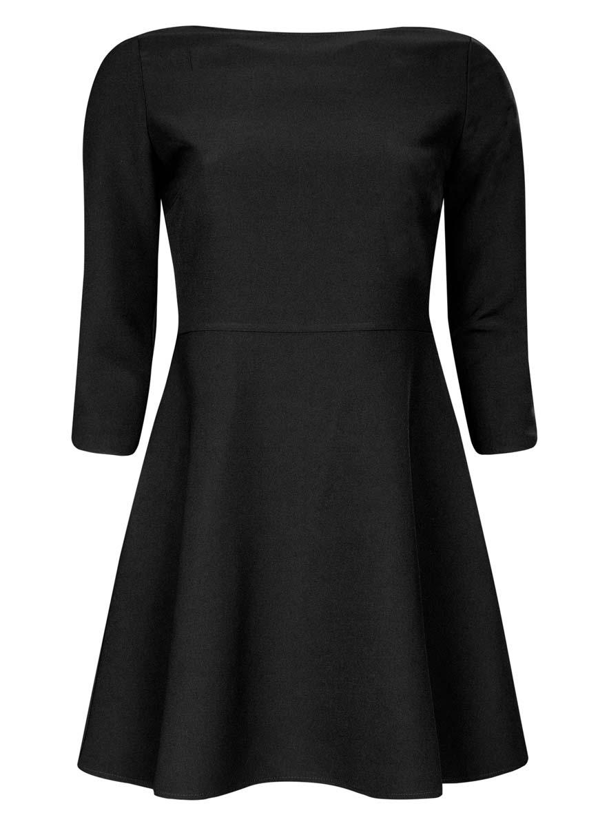 Платье oodji Ultra, цвет: черный. 11911001/38461/2900N. Размер 36 (42-170)11911001/38461/2900NСтильное платье oodji Ultra изготовлено из полиэстера с добавлением эластана. У модели спереди круглый вырез, а вырез на спине дополнен широкими перекрестными лентами. С одного бока платья имеется скрытая застежка-молния. Рукава 3/4, подол слегка расклешен.