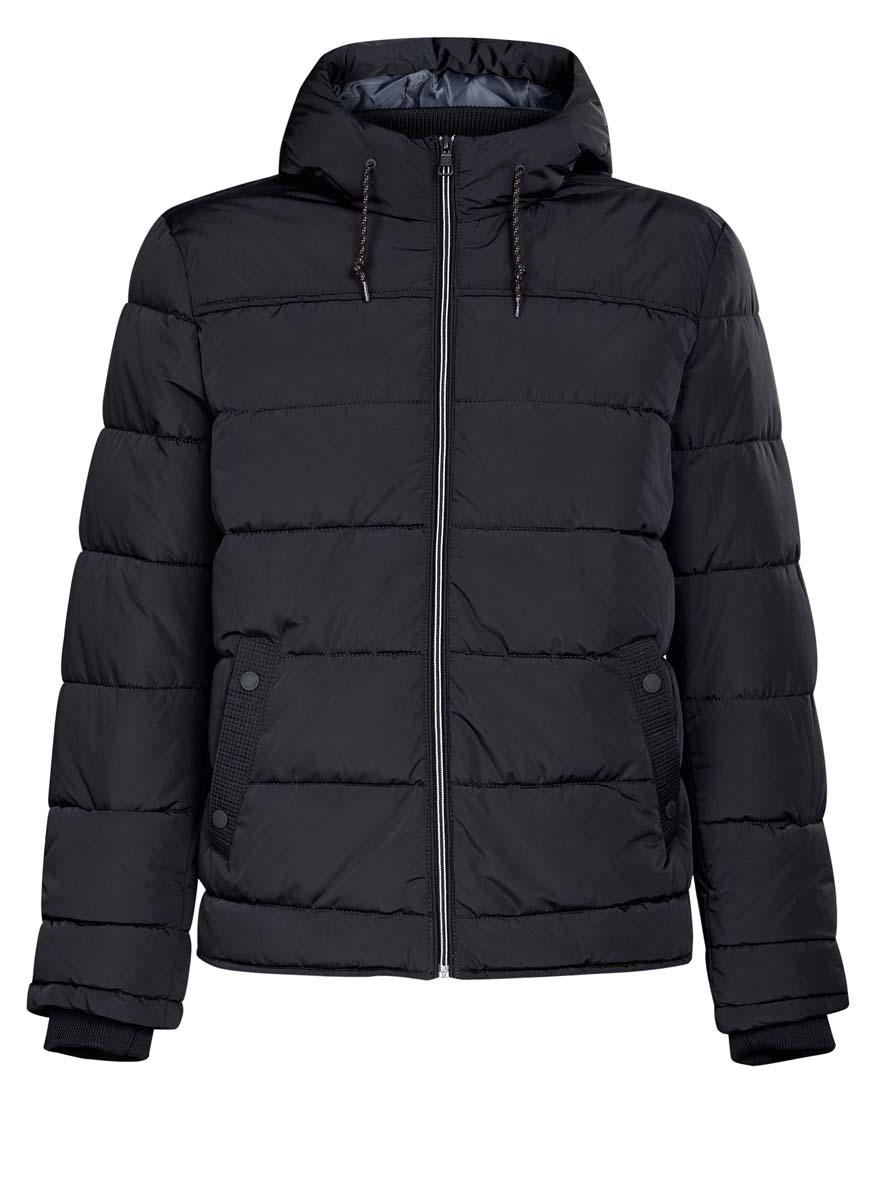 Куртка мужская oodji Basic, цвет: темно-синий. 1B112006M/39877N/7900N. Размер XXL (58-182)1B112006M/39877N/7900NМужская куртка oodji Basic выполнена из 100% полиэстера. В качестве подкладки и утеплителя также используется полиэстер. Модель с несъемным капюшоном застегивается на застежку-молнию. Капюшон дополнен по краю шнурком-кулиской, а по низу - эластичной резинкой. Рукава имеют внутренние эластичные манжеты. Низ изделия дополнен эластичным шнурком-кулиской. Спереди расположено два прорезных кармана на кнопках, а с внутренней стороны - прорезной карман на застежке-молнии.