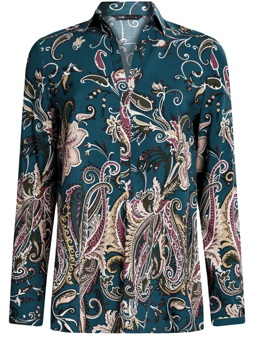 Блузка женская oodji Collection, цвет: морская волна, темный хаки. 21411144-4/26346/6C68E. Размер 40 (46-170)21411144-4/26346/6C68EОригинальная женская блузка oodji Collection выполнена из качественной вискозы. Модель свободного кроя с отложным воротником и длинными рукавами застегивается спереди на пуговицы скрытые планкой. Манжеты рукавов также имеют застежки-пуговицы. Спереди модель дополнена элегантным V-образным вырезом. Оформлена блузка стильным принтом с узорами. Спинка модели немного удлинена.