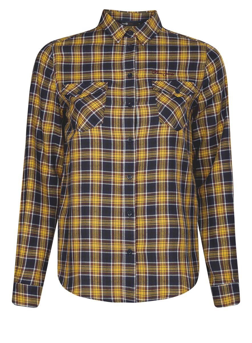 Рубашка11400433-1/43223/4529CСтильная женская рубашка oodji Ultra выполнена из натурального хлопка. Модель с отложным воротником и длинными рукавами застегивается спереди на пуговицы. Манжеты на рукавах также имеют застежки-пуговицы. Оформлена рубашка модным принтом в клетку и дополнена двумя накладными карманами с клапанами на пуговицах.