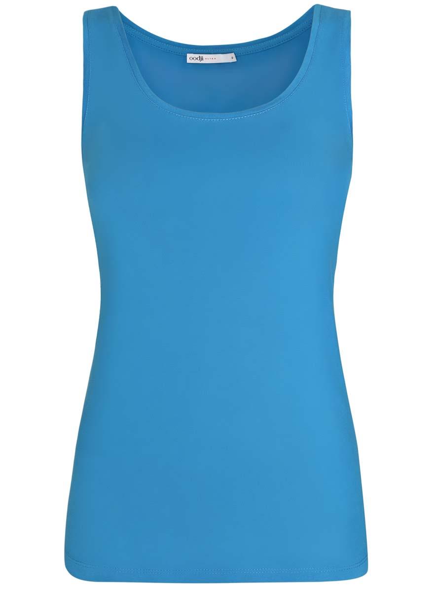 Майка женская oodji Ultra, цвет: темно-голубой. 14315002B/46154/7501N. Размер XS (42)14315002B/46154/7501NЖенская майка oodji Ultra изготовлена из натурального хлопка. Модель с круглым вырезом горловины выполнена в лаконичном дизайне.