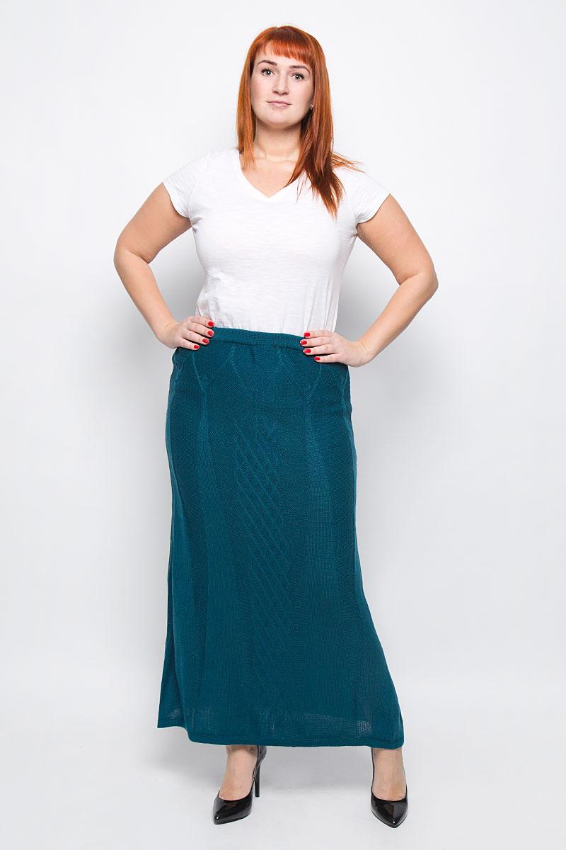 Юбка1349Стильная вязаная юбка от Milana Style, выполненная из качественной пряжи, отлично дополнит ваш образ. Модель макси-длины связана оригинальным узором и на талии имеет широкую эластичную резинку.