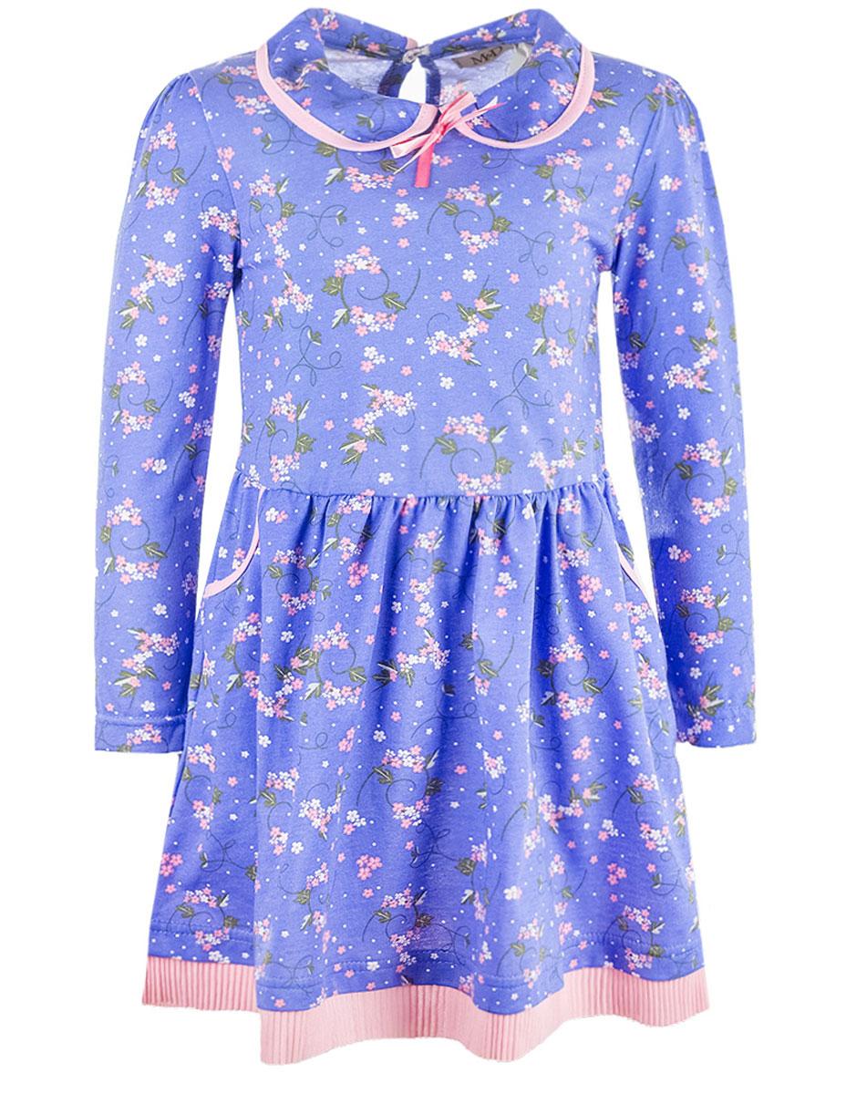 ПлатьеWJD26048М-53Очаровательное платье M&D идеально подойдет вашей дочурке. Изделие выполнено из натурального хлопка и оформлено цветочным принтом. Модель с длинными рукавами и отложным воротником застегивается на пуговицу, расположенную на спинке. Спереди расположены два втачных кармана. На талии модель дополнена резинкой.