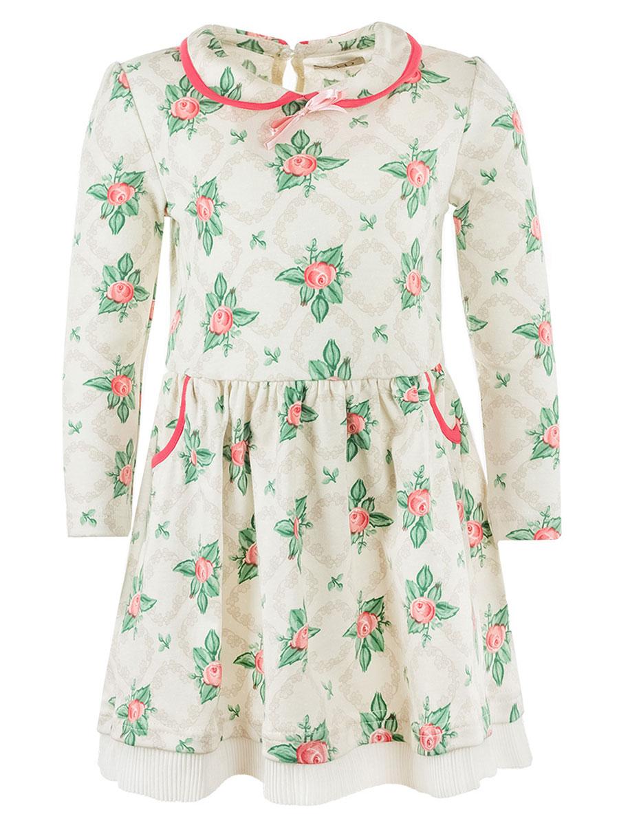 ПлатьеWJD26045М-77Очаровательное платье для девочки M&D, изготовленное из натурального хлопка, легкое и приятное к телу. Модель с отложным воротником и длинными рукавами застегивается по спинке на пуговицу. От линии талии заложены складочки, придающие изделию пышность и воздушность. По бокам юбочки оформлены два втачных кармана. Кромка воротника и края карманов дополнены трикотажной бейкой. Платье с цветочным принтом идеально подойдет вашей маленькой моднице.