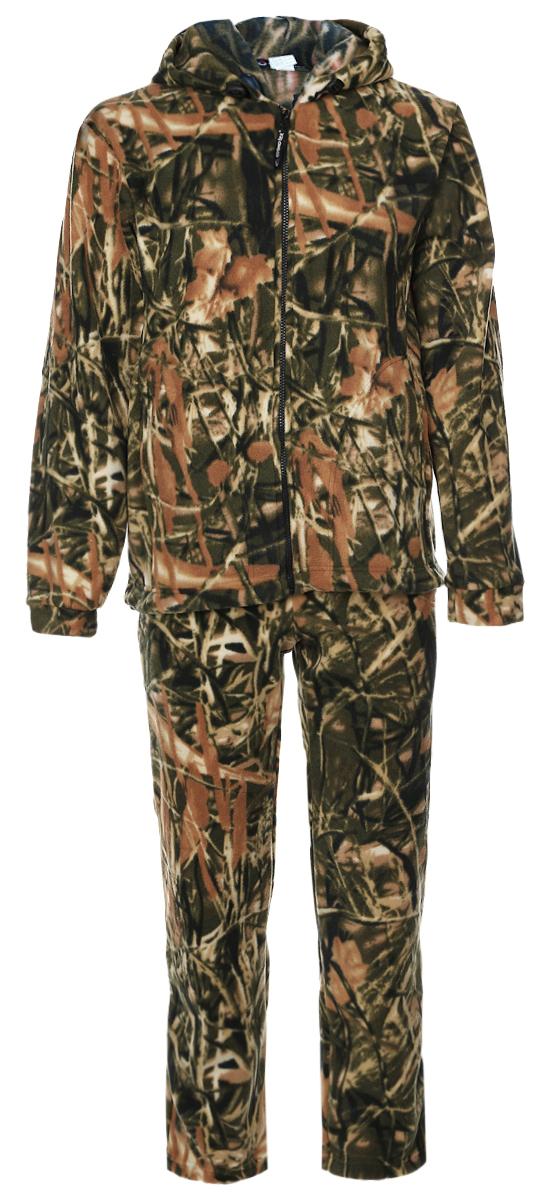 Костюм рыболовный1029Мужской рыболовный костюм Cosmo-Tex Зверобой выполнен из мягкого флиса. Он включает в себя толстовку и свободные прямые брюки. Толстовка с длинными рукавами и капюшоном застегивается на застежку-молнию спереди. Модель дополнена двумя накладными карманами спереди. Объем капюшона регулируется при помощи шнурка-кулиски. Низ толстовки также дополнен шнурком-кулиской. Брюки прямого кроя и средней посадки изготовлены имеют широкую эластичную резинку на поясе, объем талии регулируется при помощи шнурка-кулиски. Изделие дополнено двумя втачными карманами спереди. Комплект оформлен защитным принтом.