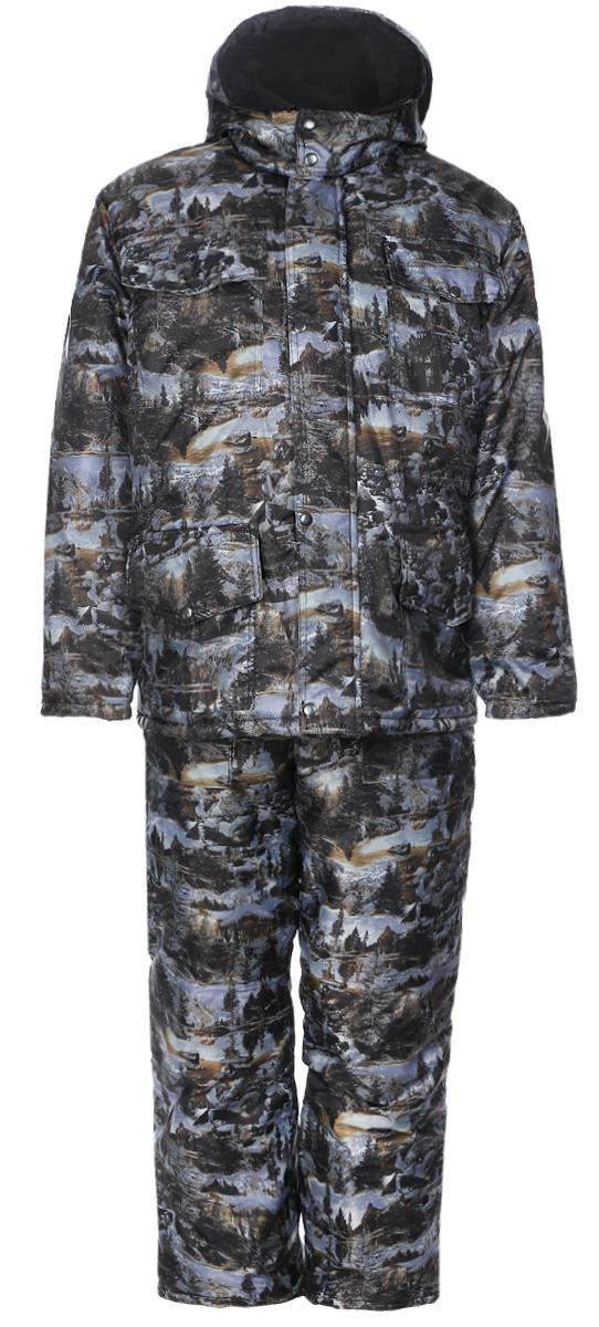 Костюм рыболовный4978Мужской рыболовный костюм Cosmo-Tex Рыбак включает в себя куртку и утепленный полукомбинезон. Куртка и полукомбинезон выполнены из прочного полиэстера, наполнитель - синтепон. Куртка с воротником-стойкой, съемным капюшоном на кнопках и длинными рукавами застегивается на застежку- молнию и имеет ветрозащитный клапан на кнопках. Рукава дополнены трикотажными внутренними манжетами. Спереди имеются четыре накладных кармана с клапанами на кнопках, изнутри - накладной карман. Куртка дополнена шнурком-кулиской со стопперами на талии. Полукомбинезон застегивается на пластиковую молнию. Изделие дополнено эластичными наплечными лямками с фастексами, регулируемыми по длине. Спереди расположены два втачных кармана. Костюм оформлен защитным принтом.