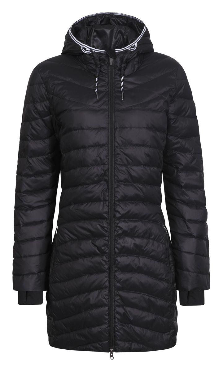 Куртка636461386LVУдобное женское пальто Luhta Peppiina изготовлено из полиамида с утеплителем из пуха и пера. Модель с длинными рукавами и несъемным капюшоном. Объем капюшона регулируется при помощи шнурка. Капюшон оформлен контрастной эластичной вставкой. Пальто застегивается на застежку-молнию с защитой подбородка и имеет внутренний ветрозащитный клапан. Изделие дополнено двумя втачными карманами на застежках-молниях. Манжеты рукавов дополнены эластичными манжетами с отверстиями для большого пальца.
