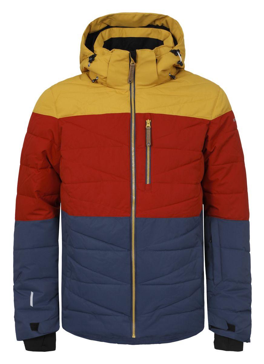 Куртка656234553IVМужская куртка Icepeak Kelson выполнена из полиэстера с подкладкой из синтепона. Модель с длинными рукавами, воротником-стойкой и съемным капюшоном на застежке-молнии и кнопках застегивается на застежку-молнию спереди. Изделие дополнено тремя втачными карманами на застежках-молниях, внутренним втачным карманом на молнии и двумя накладными карманами-сетками, а также небольшим втачным кармашком на рукаве. Рукава дополнены текстильными внутренними манжетами, а также хлястиками с липучками, которые позволяют регулировать обхват манжет. Куртка оснащена съемной внутренней противоснежной вставкой на застежке-молнии и кнопках. Низ куртки дополнен шнурком-кулиской.