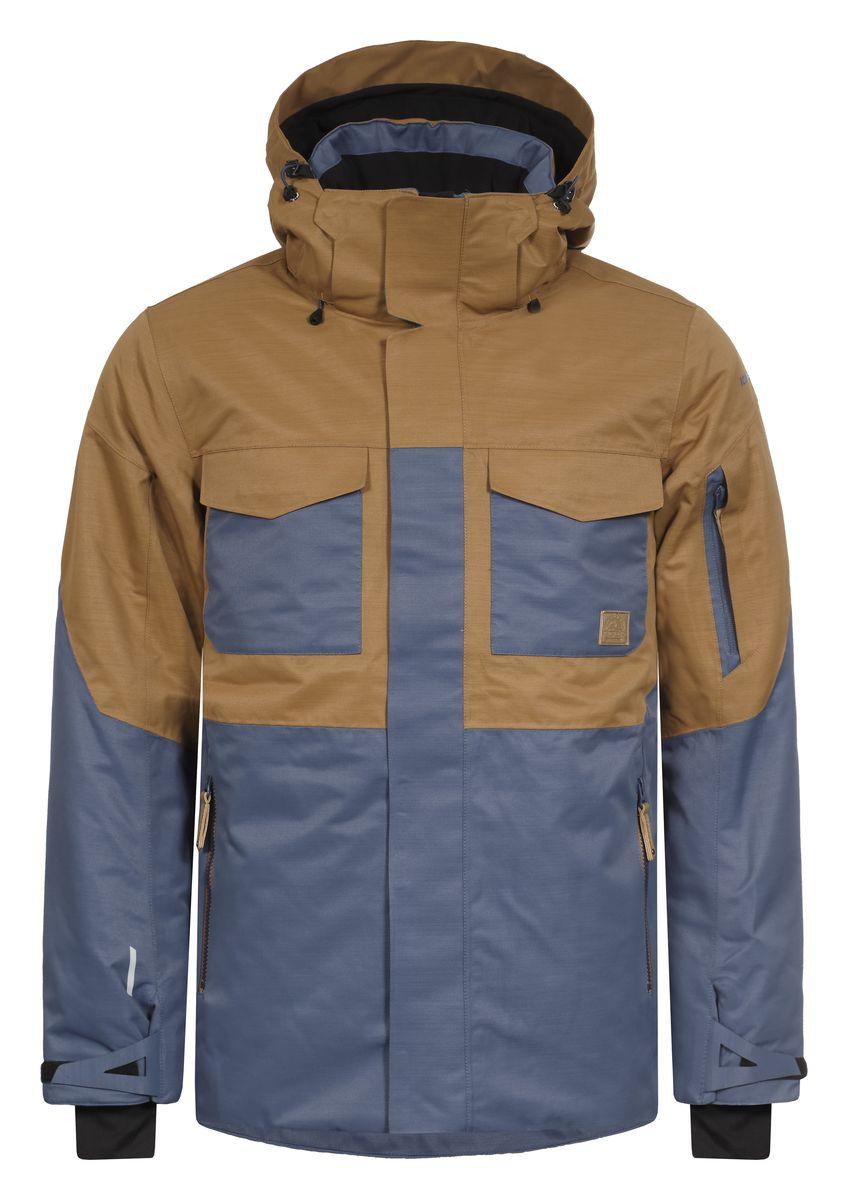 Куртка мужская Icepeak Kanye, цвет: синий, коричневый. 656229576IV. Размер 52656229576IVКуртка Icepeak Kanye, изготовленная из водоотталкивающей и ветрозащитной ткани, которая создает оптимальный микроклимат внутри куртки, утеплена полиэстером (100 г/м2). В качестве подкладки используется полиамид. Помимо этого здесь использовался утеплитель Super soft touch, состоящий из множества слоев тончайших волокон, которые обеспечивают отличную термоизоляцию, но не утяжеляют изделие. Куртка с воротником-стойкой и капюшоном застегивается на молнию с ветрозащитным клапаном на кнопках и липучках. Капюшон пристегивается при помощи кнопок и молнии. Рукава дополнены внутренними эластичными манжетами с прорезью для большого пальца. Также манжеты дополнены хлястиками на липучках. С внутренней стороны у модели предусмотрена снегозащитная юбка. Спереди куртка дополнена двумя врезными карманами и двумя накладными карманами с клапанами на липучках, а с внутренней стороны расположены один накладной карман из сетчатой ткани и втачной карман на молнии. На левом рукаве предусмотрен карман для ski pass, а под рукавами оформлено отверстие на змейке для дополнительной вентиляции. Низ куртки дополнен кулиской со стопперами.