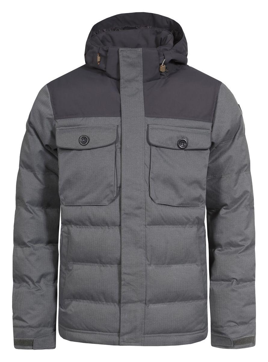 Куртка мужская Icepeak Timon, цвет: серый. 656039592IV. Размер 50656039592IVКуртка Icepeak Timon, изготовленная из водоотталкивающей и ветрозащитной ткани, которая создает оптимальный микроклимат внутри куртки, утеплена полиэстером (100 г/м2). Помимо этого здесь использовался утеплитель Super soft touch, состоящий из множества слоев тончайших волокон, которые обеспечивают отличную термоизоляцию, но не утяжеляют изделие. Куртка с воротником-стойкой и съемным капюшоном застегивается на молнию с ветрозащитным клапаном на кнопках. Капюшон пристегивается при помощи кнопок и регулируется с помощью эластичной резинки со стопперами. Манжеты рукавов дополнены хлястиками на липучках. Спереди куртка оформлена двумя втачными карманами на кнопках и двумя накладными с клапанами на кнопках, а с внутренней стороны расположены один накладной карман из сетчатой ткани и один втачной на молнии. Низ куртки дополнен кулиской со стопперами.