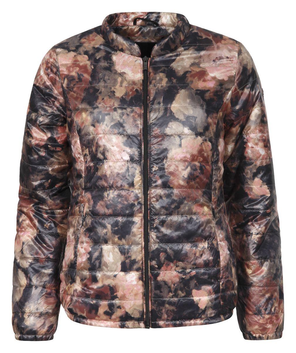Куртка женская Luhta Isla, цвет: оранжевый, черный. 636479364LV. Размер 36 (42)636479364LVЖенская куртка Luhta Piiku с длинными рукавами и круглым вырезом горловины выполнена из полиамида. Наполнитель - синтепон. Куртка застегивается на застежку-молнию спереди. Изделие оснащено двумя втачными карманами на молниях спереди и внутренним втачным карманом на застежке-молнии. Куртка оформлена красочным цветочным принтом.