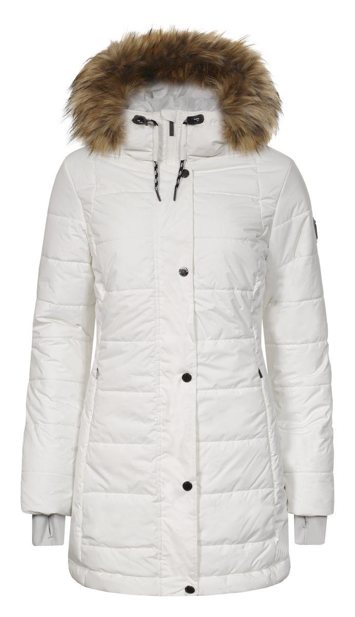 Куртка636468355L7VУдобное женское пальто Luhta Piata изготовлено из полиэстера с утеплителем из синтепона. Модель с длинными рукавами и несъемным капюшоном. Объем капюшона регулируется при помощи шнурка-кулиски и хлястика на липучке. Капюшон оформлен искусственным мехом, который пристегивается с помощью застежки-молнии. Пальто застегивается на застежку-молнию спереди и имеет ветрозащитный клапан на кнопках. Изделие дополнено двумя карманами на застежках-молниях. Рукава дополнены эластичными манжетами с отверстием для большого пальца.