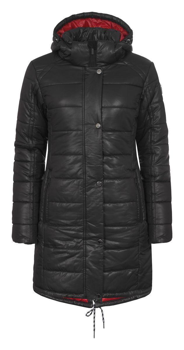 Куртка636463388LVУдобное женское пальто Luhta Pernella изготовлено из 100% полиэстера. Модель с длинными рукавами, воротником-стойкой и съемным капюшоном. Объем капюшона регулируется при помощи шнурка-кулиски со стопперами и хлястика на липучке. Пальто застегивается на застежку-молнию спереди и имеет ветрозащитный клапан на кнопках. Изделие дополнено двумя карманами на молнии спереди, внутренним карманом на застежке-молнии. Низ изделия дополнен шнурком.