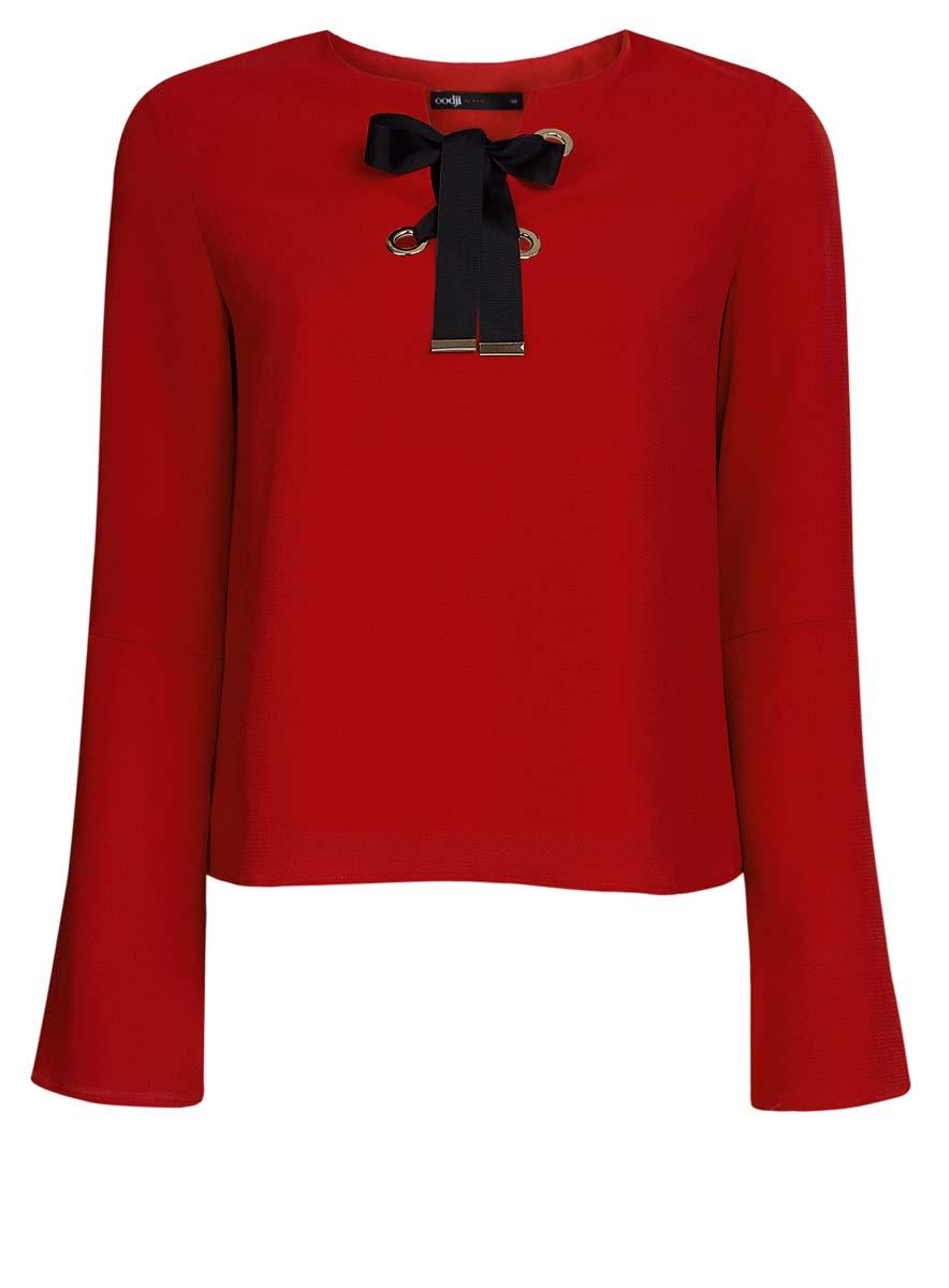 Блузка11401256/45994/3000NЖенская блузка oodji Ultra выполнена из высококачественного комбинированного материала. Модель с круглым вырезом горловины и рукавами-колокол, на груди декорирована контрастной лентой-шнуровкой