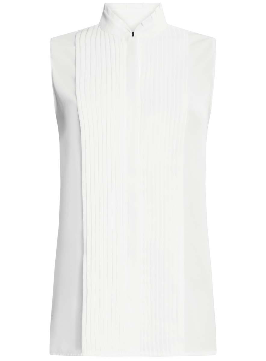 Блузка11410017/36215/1200NЖенская блузка oodji Ultra без рукавов имеет свободный крой и воротник-стойку, спереди застегивается на скрытые пуговицы и оформлено декоративным гофре.