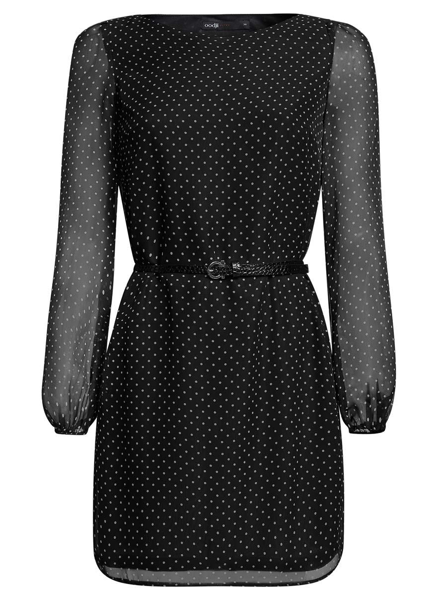Платье oodji Ultra, цвет: черный, белый. 11900150-5/13632/2912D. Размер 36 (42-170)11900150-5/13632/2912DСтильное платье oodji Ultra выполнено из 100% полиэстера. Модель с круглым вырезом горловины и длинными рукавами оформлена интересным принтом. В комплект входит ремень из искусственной кожи с металлической пряжкой.