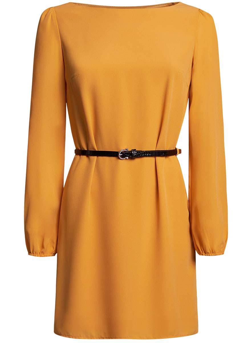 Платье11900150-5B/32823/4500NСтильное платье oodji Ultra выполнено из воздушного шифона. Модель с круглым вырезом горловины и длинными рукавами дополнена узким ремнем из искусственной кожи с металлической пряжкой.