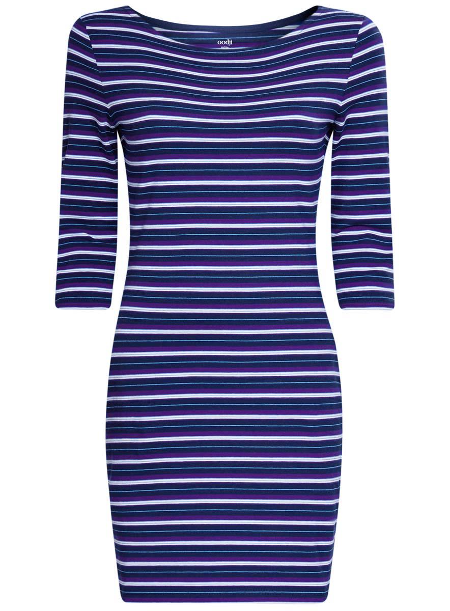 Платье14001071-2B/46148/1279SСтильное платье oodji Ultra, выполненное из эластичного хлопка, отлично дополнит ваш гардероб. Модель мини-длины с круглым вырезом лодочкой и рукавами 3/4 оформлена принтом в полоску.