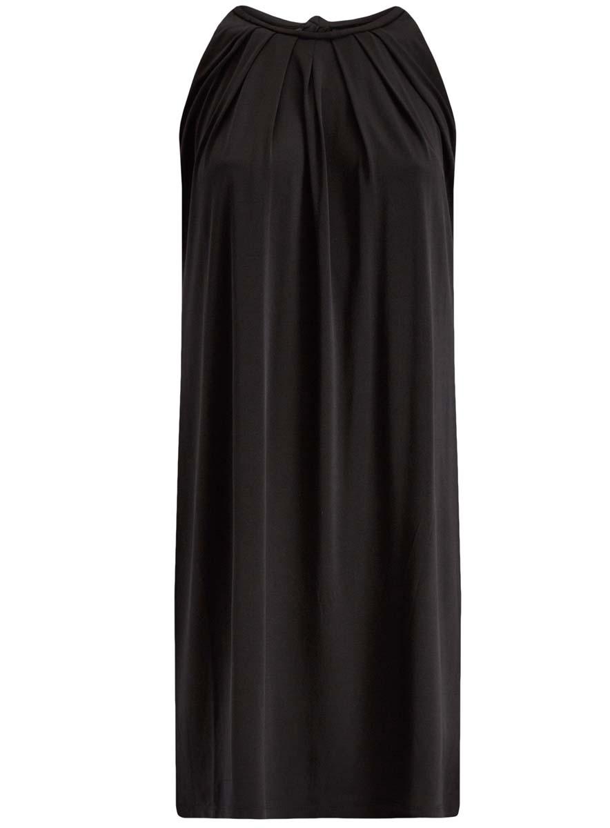 Платье oodji Collection, цвет: черный. 24005125/42788/2900N. Размер M (46)24005125/42788/2900NСтильное платье oodji Collection выполнено из полиэстера с добавлением полиуретана. Модель свободного кроя без рукавов сзади завязывается на завязки.