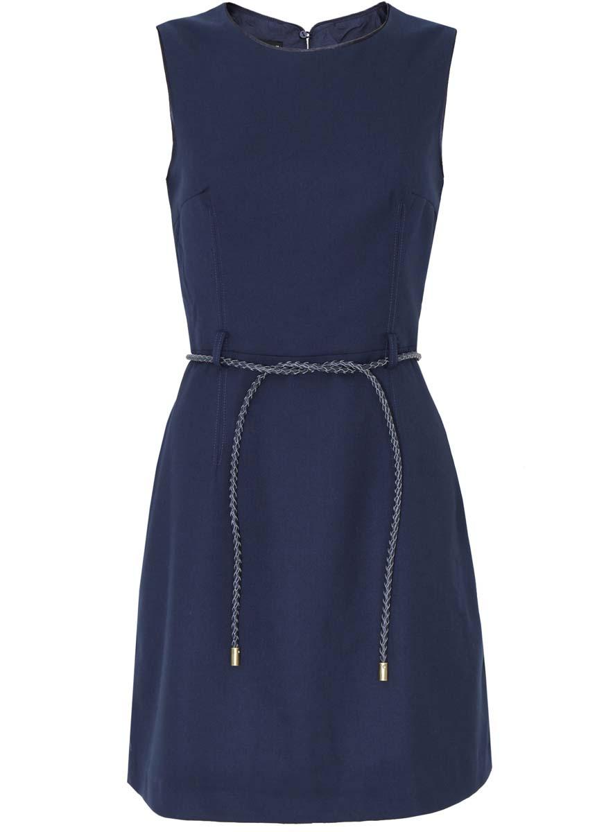 Платье oodji Ultra, цвет: темно-синий. 11910078/37837/7900N. Размер 40 (46-170)11910078/37837/7900NСтильное платье oodji Ultra выполнено из высококачественного комбинированного материала. Модель без рукавов с круглым вырезом горловины застегивается на пуговицу и застежку-молнию. На поясе есть шлевки для ремня. Вырез горловины и проймы рукавов дополнены тканью. В комплект входит декоративный ремень.