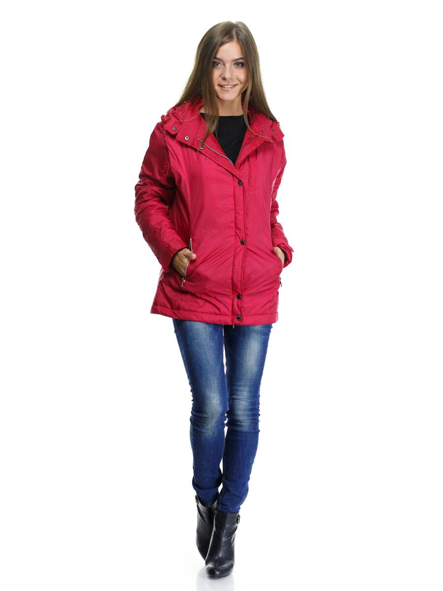 Куртка женская Montana, цвет: красный. 22776. Размер XXL(50/52)22776_RedЖенская куртка Montana выполнена из нейлоновой ткани с наполнителем из высококачественного полиэстера. Модель классического прямого кроя с длинными рукавами, застегивается на молнию и имеет верхний защитный клапан на кнопках. Есть съемный капюшон, дополненный стопперами и застежкой-кнопкой, пристегивается к куртке на молнию. Манжеты дополнены хлястиками на липучках. На лицевой части три прорезных кармана на молниях, есть два внутренних кармана прорезной на молнии и накладной на липучке. Низ изделия дополнен стопперами на резинках.