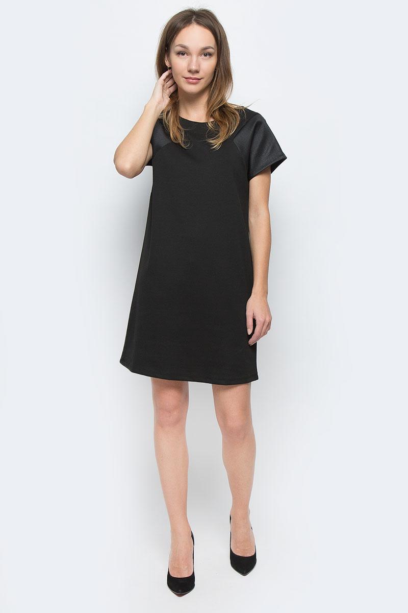 ПлатьеMX3026555_WM_DRS_009Платье Mexx выполнено из высококачественного комбинированного материала. Модель с круглым вырезом горловины и короткими цельнокроеными рукавами. Платье-миди оформлено вставками из гофрированного материала.