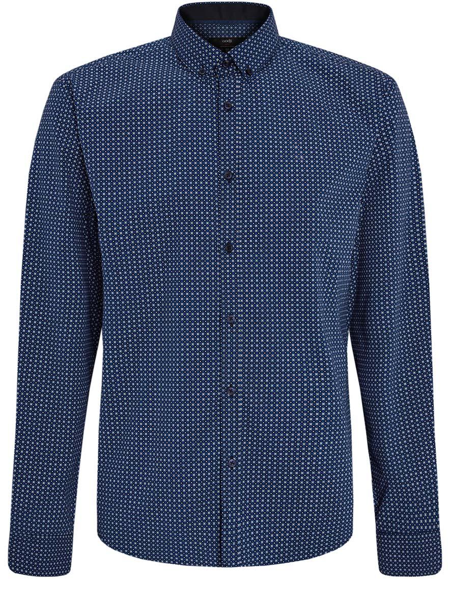Рубашка мужская oodji Lab, цвет: черный, синий, белый. 3L110203M/19370N/7975G. Размер 41 (50-182)3L110203M/19370N/7975GСтильная мужская рубашка oodji Lab, выполненная из натурального хлопка, позволяет коже дышать, тем самым обеспечивая наибольший комфорт при носке. Модель-слим с отложным воротником и длинными рукавами застегивается на пуговицы по всей длине. Манжеты рукавов оснащены застежками-пуговицами. Изделие оформлено оригинальным принтом.
