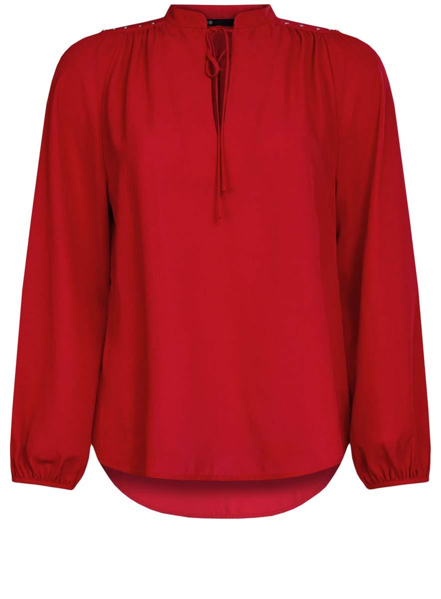 Блузка женская oodji Ultra, цвет: красный. 11411126/45873/4500N. Размер 40 (46-170)11411126/45873/4500NЖенская блузка oodji Ultra имеет свободный крой, воротник-стойку оформленный завязками и вырезом-капелькой,рукава-баллоны. Изделие декорировано металлическими кнопками по плечам. Блузка имеет скругленный низ, удлинена сзади.