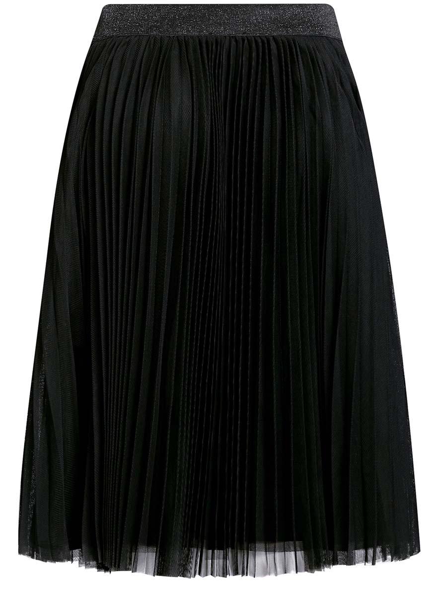 Юбка oodji Ultra, цвет: черный. 11600370/24205/2900N. Размер 40 (46-170)11600370/24205/2900NЮбка oodji Ultra выполнена из полиэстера. Юбка-плиссе средней длины дополнена эластичной резинкой на талии. Непрозрачный подъюбник также выполнен из полиэстера.