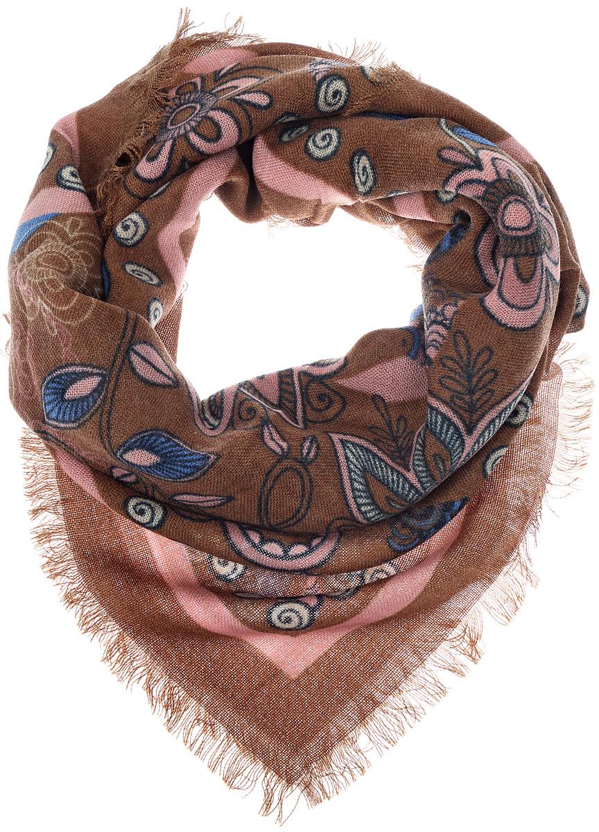 Платок женский Vittorio Richi, цвет: коричневый, розовый. SH1502-R17-4. Размер 100 см х 100 смSH1502-R17-4Теплый женский платок Vittorio Richi изготовлен из сочетания теплой шерсти и высококачественного акрила. Платок оформлен цветочным дизайном и дополнен по краям стильной бахромой.
