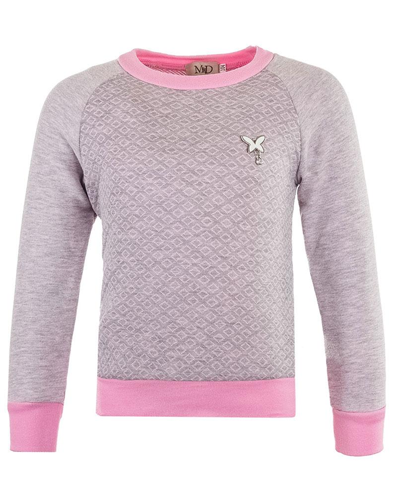 Свитшот для девочки M&D, цвет: розовый, серый. WJK26021M-5. Размер 98WJK26021M-5Модный свитшот для девочки выполнен из хлопка с добавлением полиэстера. Модель с круглым вырезом горловины и длинными рукавами-реглан оформлена металлической подвеской в виде бабочки.