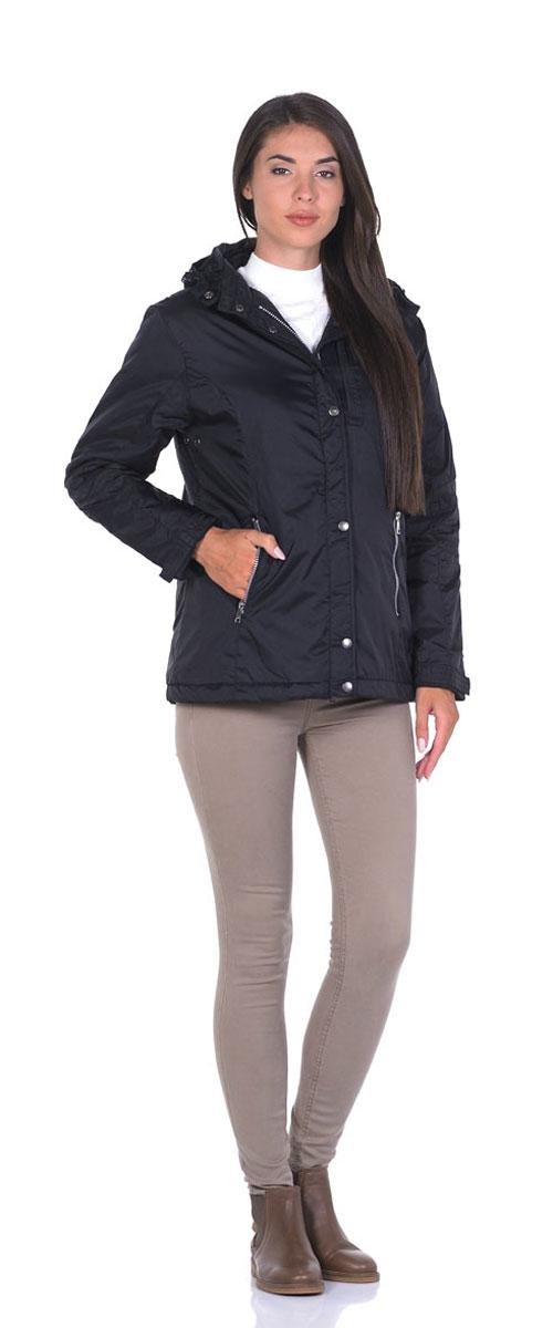 Куртка22776_BlackЖенская куртка Montana выполнена из нейлоновой ткани с наполнителем из высококачественного полиэстера. Модель классического прямого кроя с длинными рукавами, застегивается на молнию и имеет верхний защитный клапан на кнопках. Есть съемный капюшон, дополненный стопперами и застежкой-кнопкой, пристегивается к куртке на молнию. Манжеты дополнены хлястиками на липучках. На лицевой части три прорезных кармана на молниях, есть два внутренних кармана прорезной на молнии и накладной на липучке. Низ изделия дополнен стопперами на резинках.