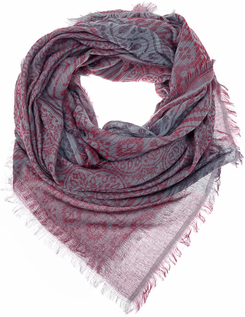 ПлатокFC775-7Стильный женский платок Vittorio Richi изготовлен из сочетания высококачественных материалов. Жаккардовый платок оформлен принтом с узорами и дополнен по краям небольшой бахромой.