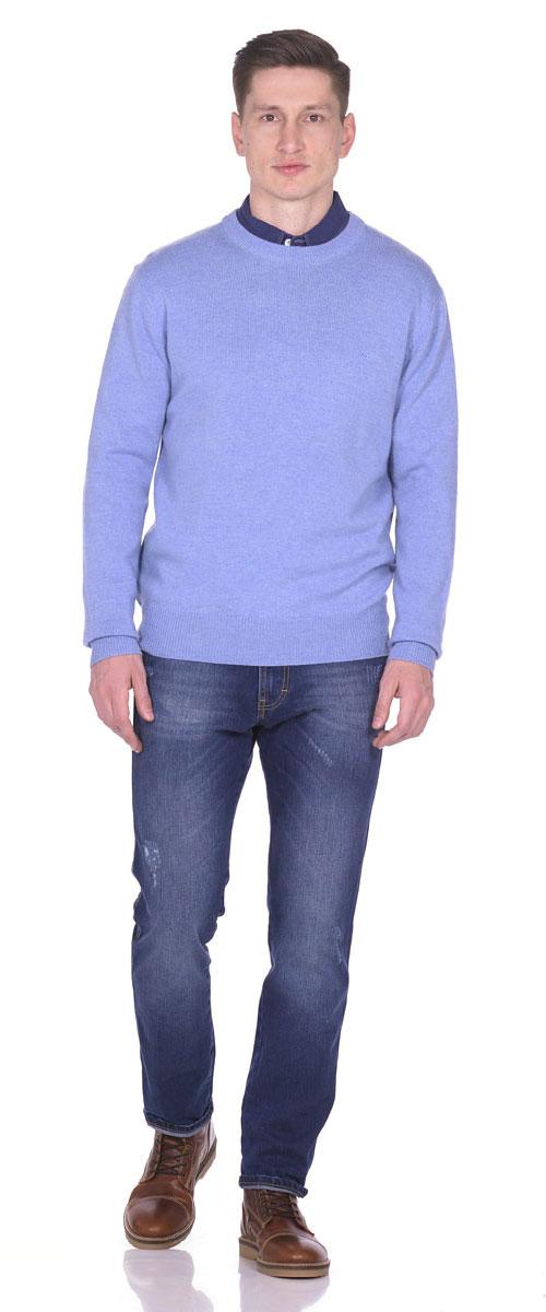 Пуловер мужской Montana, цвет: голубой. 26095. Размер M (48)26095_BluТеплый мужской пуловер выполнен из 100% овечьей шерсти. Модель с длинным рукавом и круглым вырезом горловины спереди оформлен небольшой вышивкой с логотипом бренда. Низ, горловина и манжеты пуловера выполнены извязанной манжетной резинки.