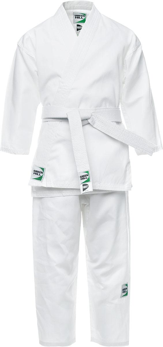 Кимоно детское для карате Green Hill Adult, цвет: белый. KSA-10347. Размер 00/120KSA-10347Детское кимоно для карате Green Hill Adult состоит из рубашки и брюк. Просторная рубашка с запахом, боковыми разрезами и длинными рукавами-кимоно изготовлена из плотного хлопка. Боковые швы, края рукавов и полочек, низ рубашки укреплены дополнительными строчками и крепкой лентой с внутренней стороны. Рубашка завязывается на специальные завязки. Просторные брюки особого покроя имеют широкую эластичную резинку на талии со скрытым шнурком, обеспечивающую комфортную посадку.Изделия оформлены нашивками с логотипом бренда. Кимоно рекомендуется для тренировок в зале.