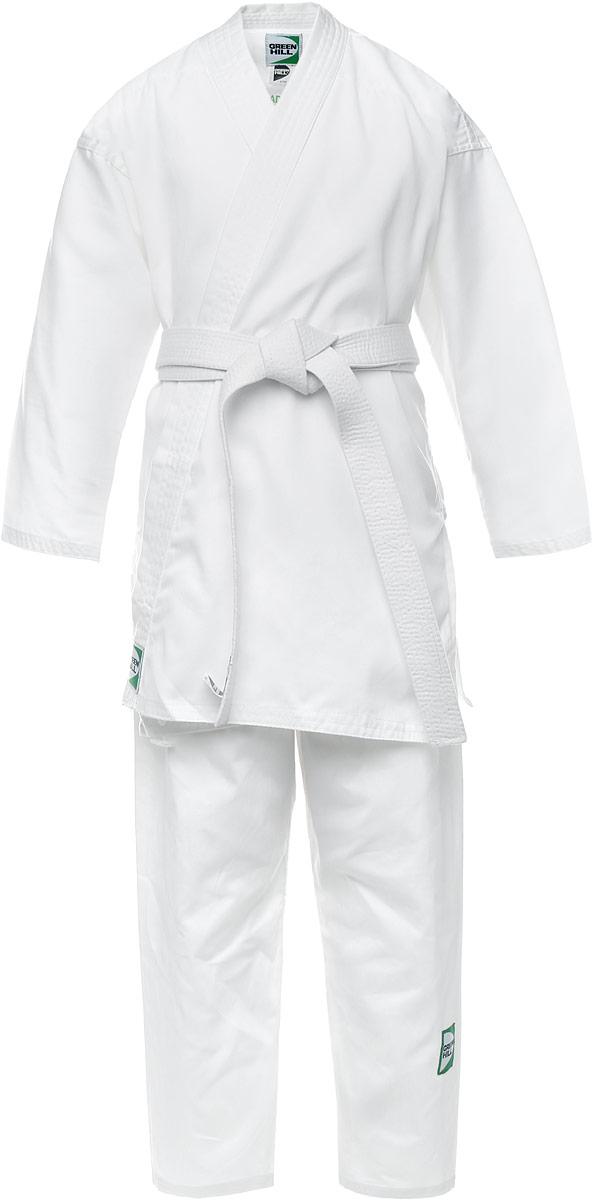 Кимоно для каратеKSA-10347Кимоно для карате Green Hill Adult состоит из рубашки и брюк. Просторная рубашка с запахом, боковыми разрезами и длинными рукавами-кимоно изготовлена из плотного хлопка. Боковые швы, края рукавов и полочек, низ рубашки укреплены дополнительными строчками и крепкой лентой с внутренней стороны. Рубашка завязывается на специальные завязки. Просторные брюки особого покроя имеют широкую эластичную резинку на талии со скрытым шнурком, обеспечивающую комфортную посадку. Изделия оформлены нашивками с логотипом бренда. Кимоно рекомендуется для тренировок в зале.