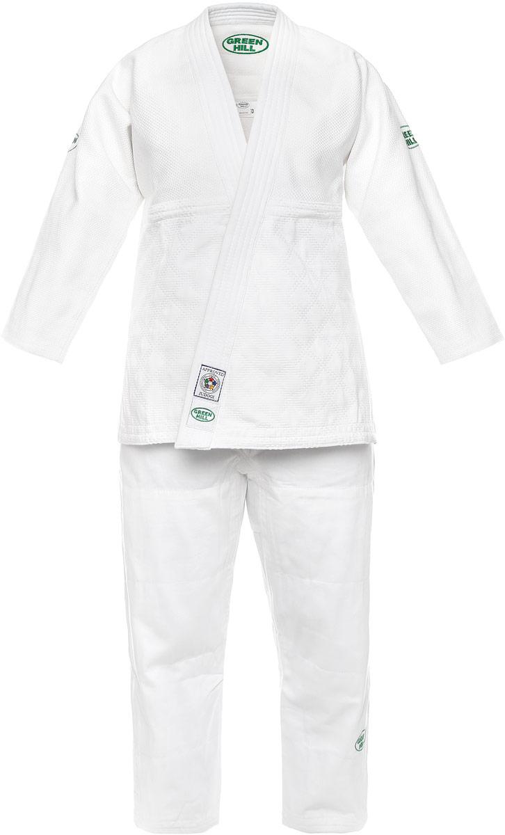 Кимоно для дзюдоJSO-10304Кимоно для дзюдо Green Hill Olimpic состоит из рубашки и брюк. Просторная рубашка с глубоким запахом, с боковыми разрезами и рукавом три четверти. Боковые швы и края полочек укреплены дополнительными строчками. Просторные брюки особого покроя на широком поясе со шнурком для фиксации брюк на талии. Комплект изготовлен из натурального хлопка, плотностью 950 г/м2.