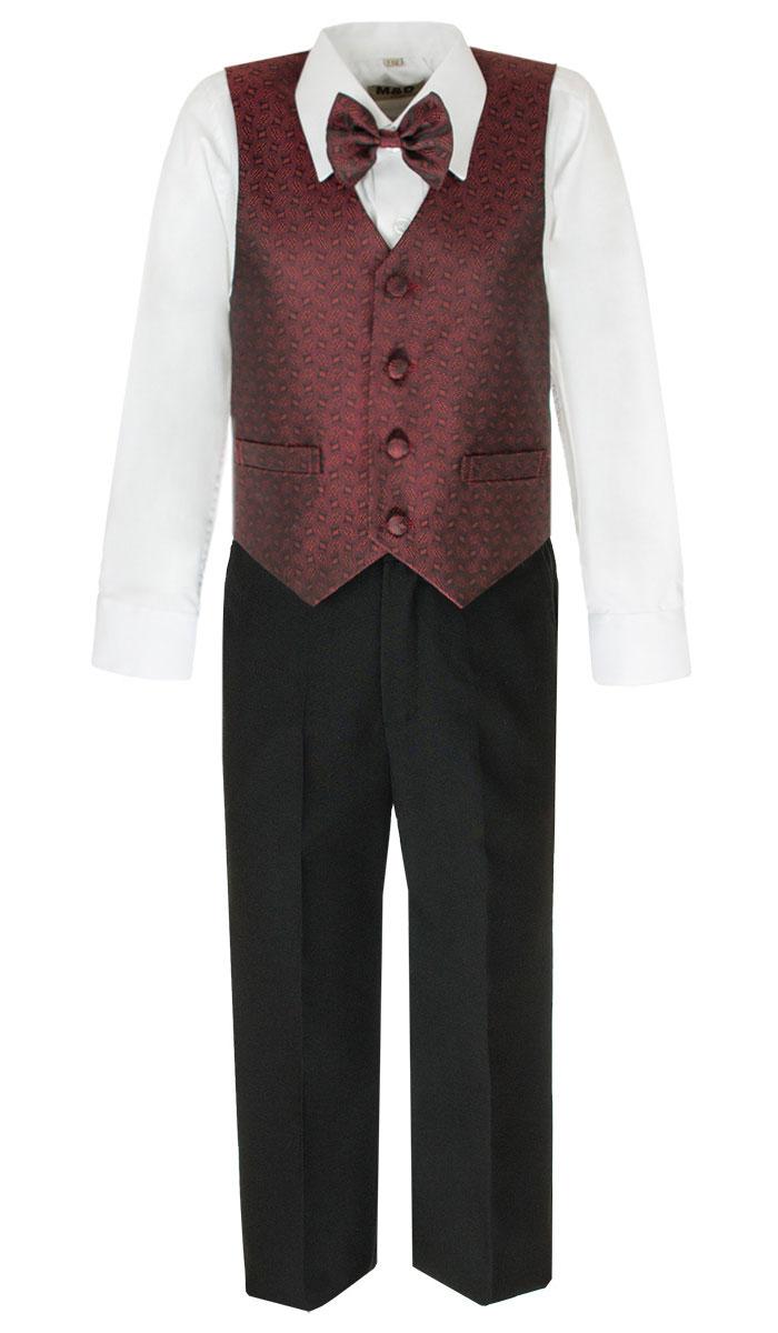 КостюмHWI170011-8Костюм для мальчика M&D изготовлен из полиэстера с добавлением модала и хлопка. Костюм включает в себя рубашку, брюки, жилет и галстук-бабочку. Рубашка с отложным воротником и длинными рукавами застегивается на пуговицы. Манжеты рукавов оснащены застежками-пуговицами. На груди расположен накладной карман. Брюки классического кроя и стандартной посадки застегиваются на пуговицу в поясе и ширинку на застежке-молнии. На поясе имеются шлевки для ремня. Пояс по бокам присборен на резинки. Брюки дополнены втачными карманами. Жилет с V-образным вырезом горловины застегивается на пуговицы. Спереди расположены два прорезных кармана. Галстук-бабочка оснащен эластичной резинкой. Жилет и галстук-бабочка оформлены оригинальным принтом.