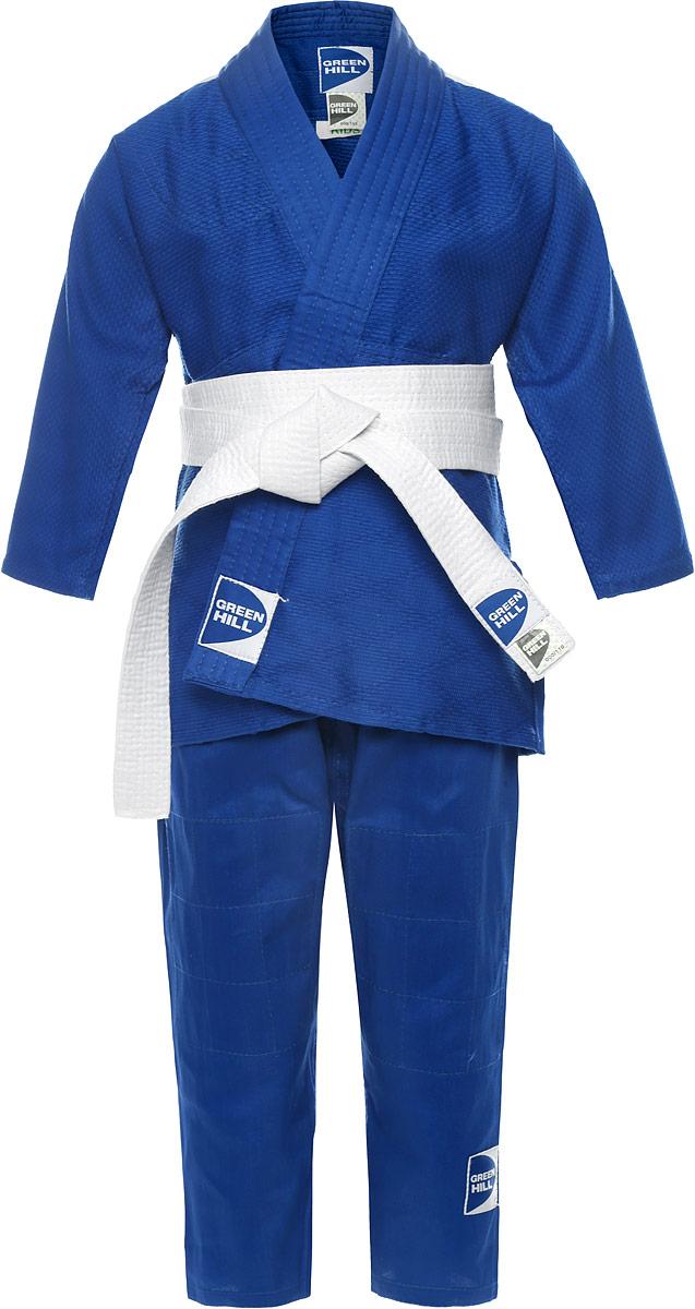 Кимоно для дзюдоJSK-10465/JSK-10400Кимоно для карате Green Hill Kids состоит из рубашки, брюк и пояса. Просторная рубашка с запахом и рукавом три четверти. Двойные швы на плечах, груди, рукавах обеспечивают дополнительную прочность куртки. Просторные брюки на широком поясе со шнурком для фиксации брюк на талии. Вставки в пройме, в районе колен брюк обеспечивают их дополнительную прочность. Длинный плотный пояс укреплен многорядной прострочкой. Комплект изготовлен из натурального хлопка, плотностью 226 г/м2.