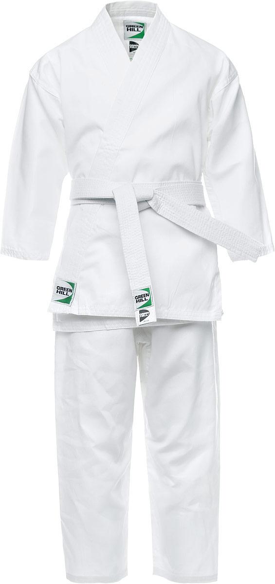 Кимоно для карате Green Hill Beginner, цвет: белый. P1034-3. Размер 3/160KSB-10341Кимоно для карате Green Hill Beginner состоит из рубашки, брюк и пояса. Просторная рубашка с глубоким запахом, с боковыми разрезами завязывается специальными завязками. Боковые швы и края укреплены дополнительными строчками. Просторные брюки на широком поясе со шнурком для фиксации брюк на талии. Длинный плотный пояс укреплен многорядной прострочкой. Комплект изготовлен из натурального хлопка.