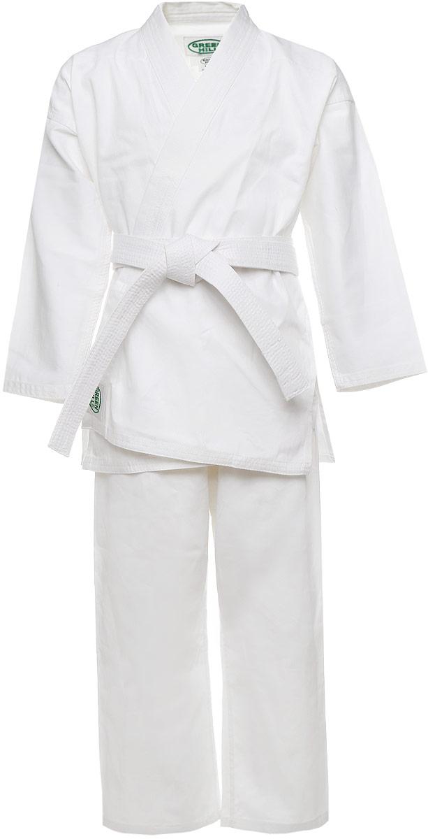 Кимоно для каратеP1002Кимоно для карате Green Hill Club состоит из рубашки и брюк. Просторная рубашка с глубоким запахом, с боковыми разрезами завязывается специальными завязками. Боковые швы и края укреплены дополнительными строчками. Просторные брюки на широком поясе и шнурком для фиксации брюк на талии. Длинный плотный пояс укреплен многорядной прострочкой. Комплект изготовлен из натурального хлопка. Кимоно рекомендуется для тренировок в зале.