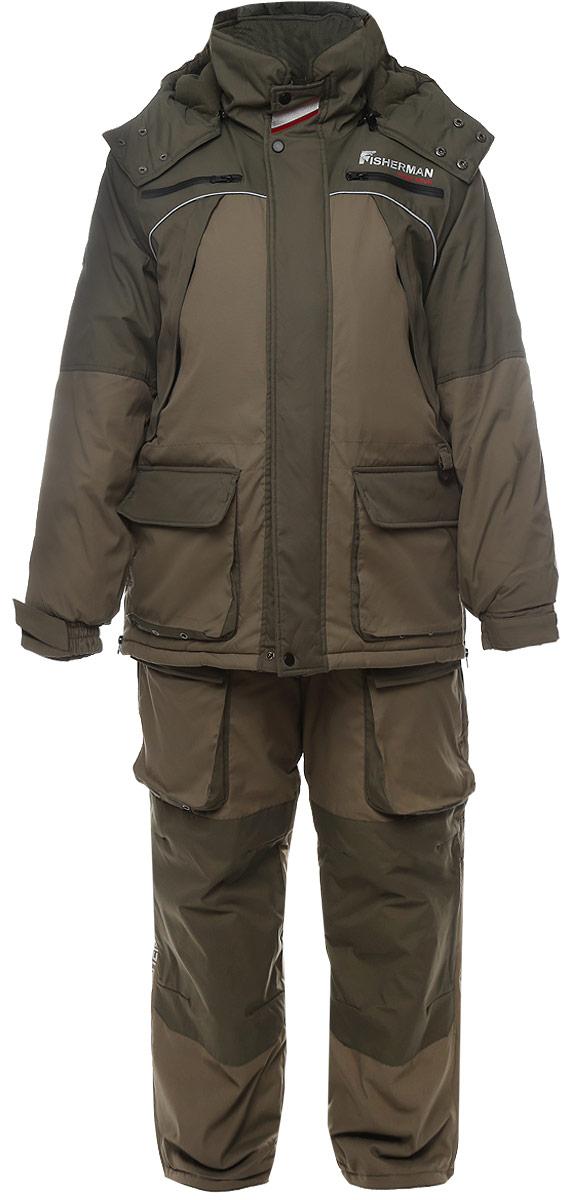 Костюм рыболовный46203-055Костюм состоит из куртки и полукомбинезона. Обновленная версия костюма Фишермен, отличается более современной конструкцией и удобной посадкой костюма по фигуре. Новый утеплитель Termo MAX обеспечит непревзойденный комфорт и сохранение тепла в условиях зимней рыбалки. Проклеенные швы защищают от попадания воды. Климатическая мембрана прекрасно отводит влагу. Регулировка рукавов и низа брюк по ширине препятствует попаданию воды, снега, а также задуванию холодного воздуха. Внутренние флисовые манжеты прекрасно сохраняют тепло. Теплый съемный капюшон с жестким козырьком прекрасно защитит Вас от попадания снега, дождя и ветра. Капюшон регулируется по ширине и по объему. Ветрозащитная юбка препятствует попаданию снега и задуванию ветра. Регулировка полукомбинезона по росту и эластичные боковые вставки обеспечивают комфортную посадку по фигуре. Удобные внешние и внутренние карманы позволят разместить необходимые каждому рыбаку мелочи. Молнии оснащены хлястиками – удобно...