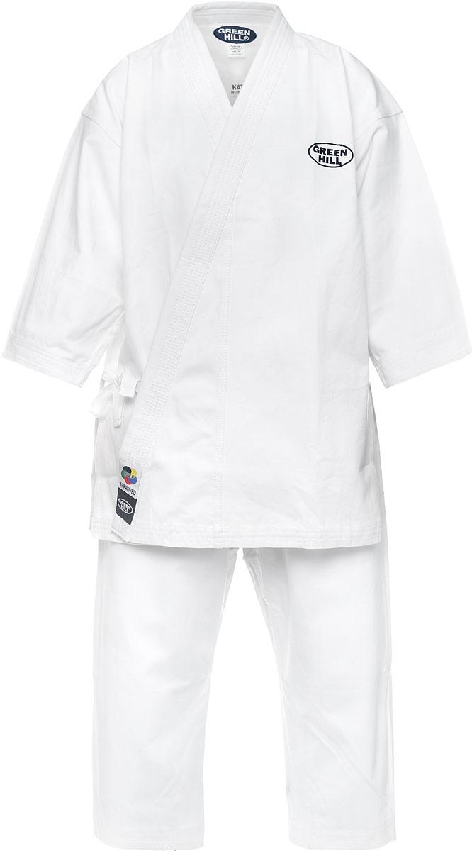 Кимоно для каратеKSO-10024WKFКимоно для карате Green Hill Kata состоит из рубашки и брюк. Просторная рубашка с глубоким запахом, с боковыми разрезами и рукавами три четверти завязывается специальными завязками. Боковые швы и края полочек укреплены дополнительными строчками. Просторные брюки особого покроя на широком поясе и шнурком для фиксации брюк на талии. Комплект изготовлен из натурального хлопка, плотностью 400 г/м2. Кимоно рекомендуется для тренировок в зале.