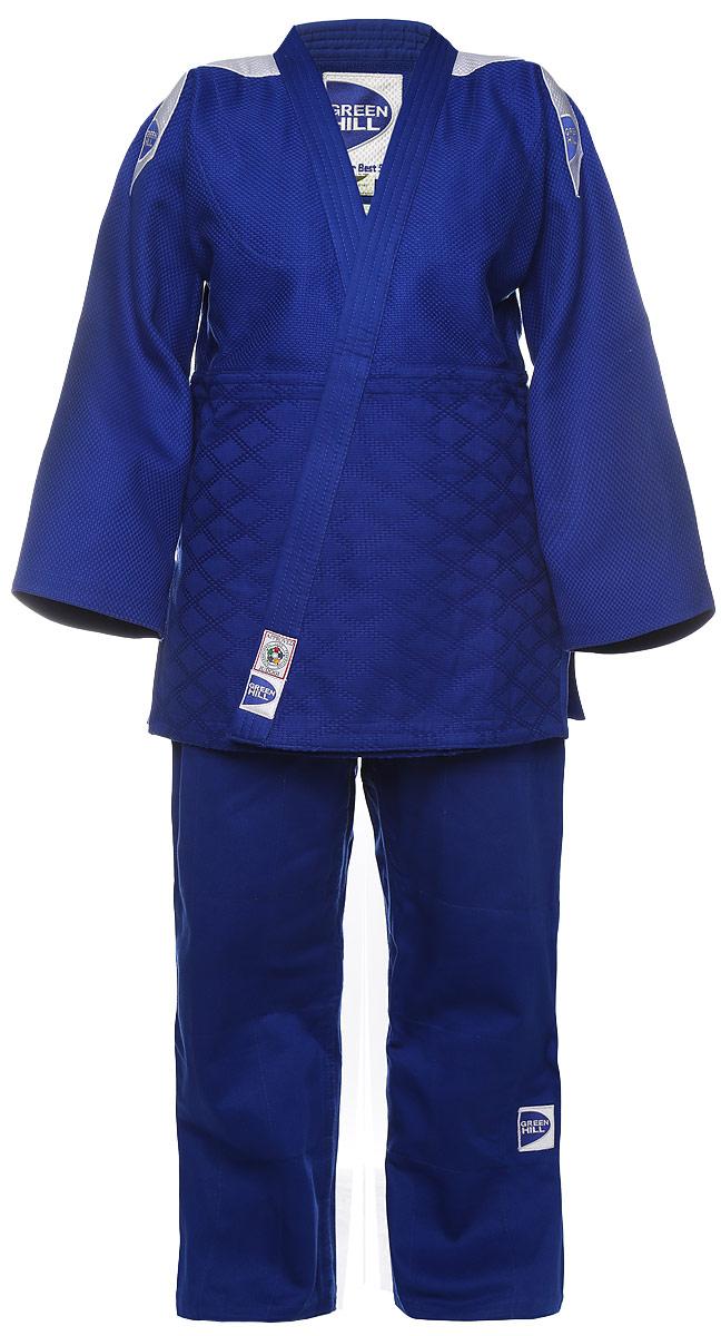 Кимоно для дзюдоJSP-10388Кимоно для дзюдо Green Hill Professional, состоящее из куртки и брюк, выполнено из натурального хлопка. Просторная куртка с глубоким запахом и рукавом 3/4 дополнена снизу по бокам разрезами. Просторные брюки особого кроя оснащены на талии затягивающимся шнурком.