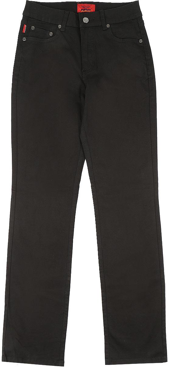 Джинсы10737_BlackЖенские джинсы Montana выполнены из хлопка с добавлением спандекса. Модель прямого кроя по поясу застегивается на пуговицу и имеет ширинку на застежке-молнии. На поясе предусмотрены шлевки для ремня. Спереди расположено два прорезных кармана и маленький накладной, а сзади- два накладных кармана. Джинсы оформлены логотипом бренда выложенным из страз.