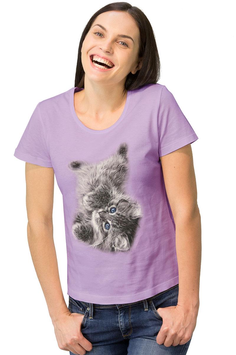 Футболка1-15Женская футболка MF Сиреневый котик с короткими рукавами и круглым вырезом горловины выполнена из натурального хлопка. Оформлена модель интересным принтом в виде котика.