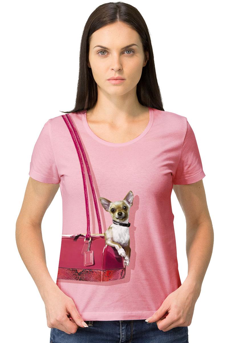 Футболка1-17Женская футболка MF Собака в сумке с короткими рукавами и круглым вырезом горловины выполнена из натурального хлопка. Оформлена модель оригинальным принтом.