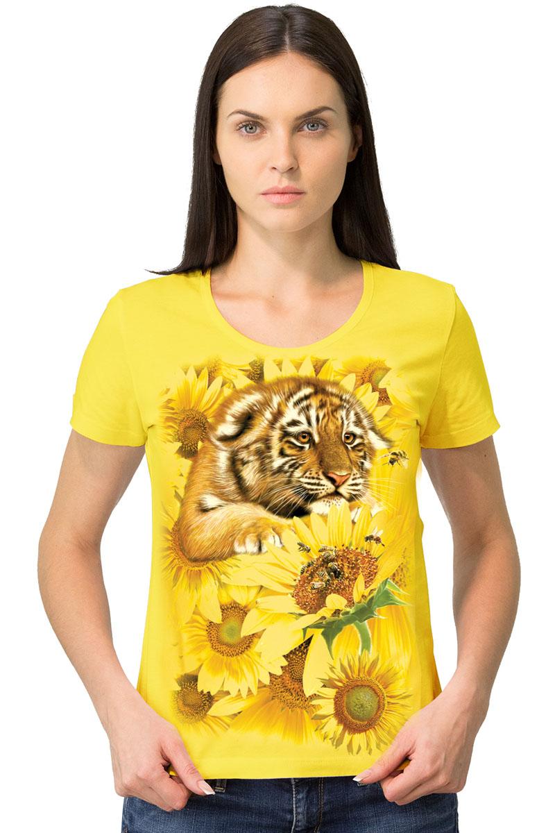 Футболка1-25Женская футболка MF Тигр подсолнухи с короткими рукавами и круглым вырезом горловины выполнена из натурального хлопка. Оформлена модель оригинальным принтом в виде тигренка.