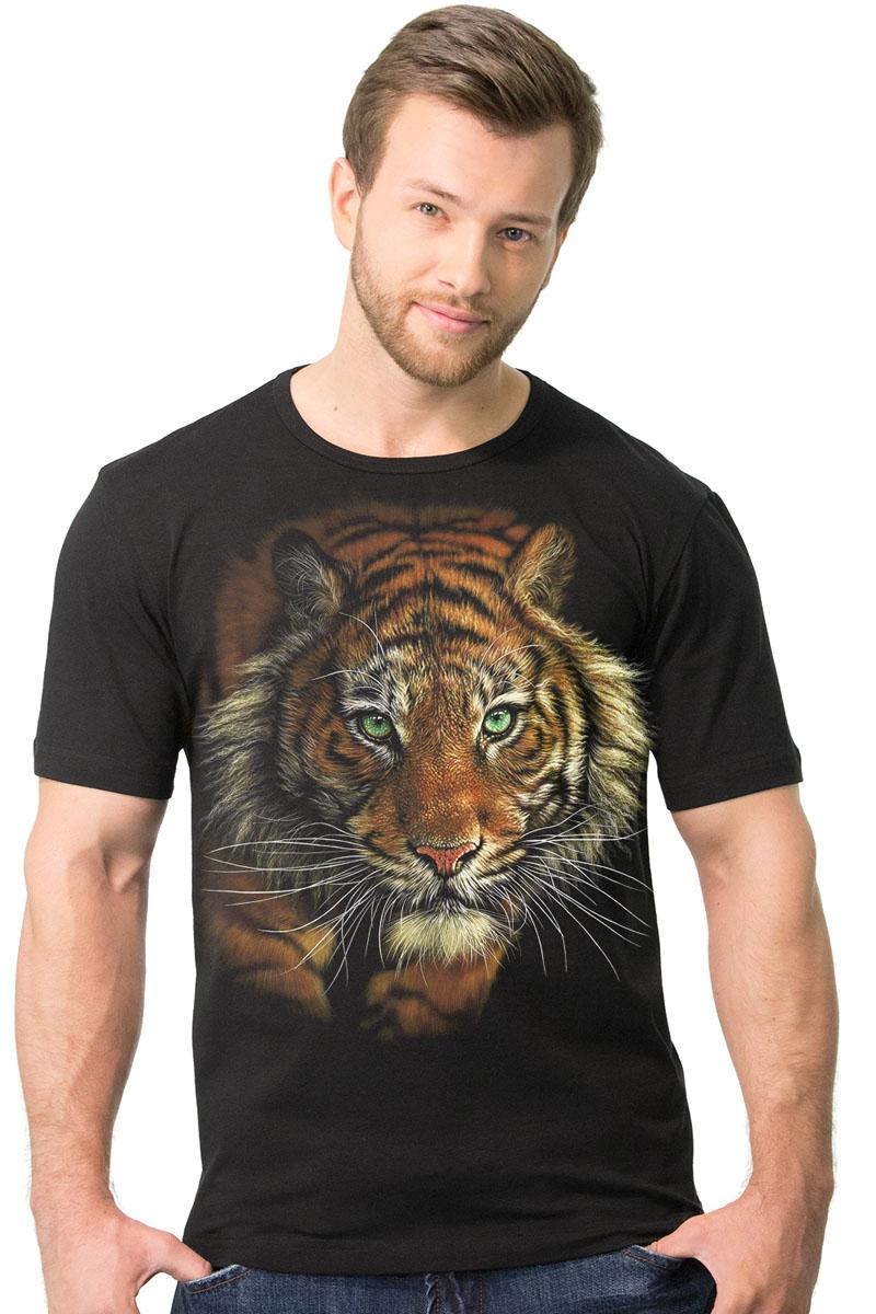Футболка2-30Мужская футболка MF Томный тигр с коротким рукавом и круглым вырезом горловины выполнена из натурального хлопка. Модель оформлена оригинальным принтом в виде тигра.
